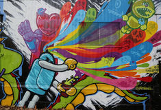 Искусство настенной росписи на бульваре Хьюстона в Soho Стоковое фото RF