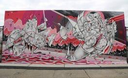 Искусство настенной росписи на новых стенах искусства кролика привлекательности искусства улицы на разделе острова кролика в Брук Стоковые Фото