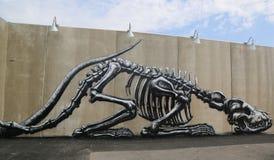 Искусство настенной росписи на новых стенах искусства кролика привлекательности искусства улицы на разделе острова кролика в Брук Стоковое Изображение