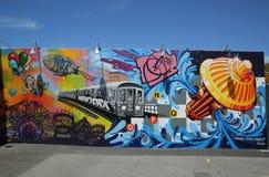 Искусство настенной росписи на стенах искусства кролика в разделе острова кролика Бруклина Стоковые Изображения RF