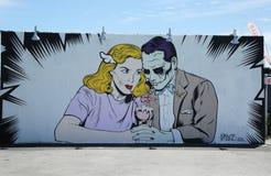 Искусство настенной росписи на стенах искусства кролика в разделе острова кролика Бруклина Стоковое фото RF