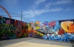 Искусство настенной росписи на стенах искусства кролика в разделе острова кролика Бруклина Стоковая Фотография RF