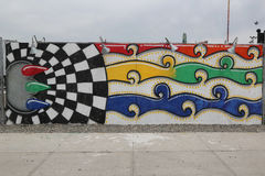 Искусство настенной росписи на стенах искусства кролика привлекательности искусства улицы на разделе острова кролика в Бруклине Стоковые Фотографии RF