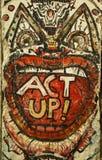 Искусство настенной росписи покрашенное первоначально на Берлинской стене подаренной городом Берлина к Вашингтону Стоковое Изображение RF