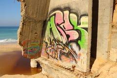 Надпись на стенах на стене морем Стоковое Изображение