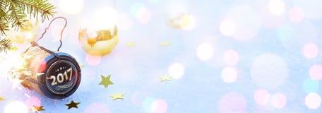 Искусство Новые Годы 2017 с Рождеством Христовым и счастливые партии; backg заголовка Стоковое Изображение