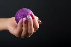 Искусство ногтя рождества Стоковые Изображения