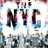 Искусство Нью-Йорка Стиль NYC улицы графический Печать моды стильная Одеяние шаблона, карточка, ярлык, плакат эмблема, штемпель ф Стоковые Изображения RF