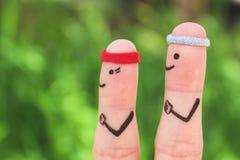 Искусство пальца счастливой пары в спорт Концепция людей и женщины бегут Стоковые Изображения RF