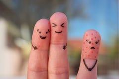 Искусство пальцев людей Концепция одиночества, распределения от толпы Стоковое Изображение