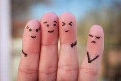 Искусство пальцев людей одиночество, распределение от толпы Стоковые Фото
