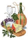 Искусство пиксела вектора Иллюстрация вектора с сыром, вином, виноградинами иллюстрация вектора
