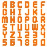 Искусство пиксела алфавита абстрактное все письма и номер конструирует иллюстрацию вектора Стоковое Изображение RF