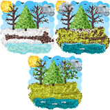 Искусство пикселов весны круглое Стоковое Изображение