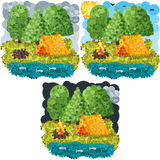 Искусство пикселов лета круглое Стоковое Изображение RF