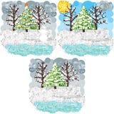 Искусство пикселов зимы круглое Стоковые Изображения RF