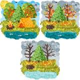 Искусство пикселов осени круглое Стоковая Фотография RF