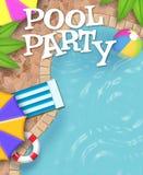 Искусство приглашения вечеринки у бассейна действительно холодное бесплатная иллюстрация