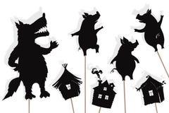 Искусство рассказа 3 маленькое свиней, изолированные марионетки тени иллюстрация вектора