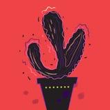 Искусство силуэта кактуса лета горячее черное на одичалом красном цвете Стоковое Изображение RF