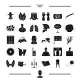 Искусство, спорт, гольф и другой значок сети в черном стиле органы, значки оружия в собрании комплекта бесплатная иллюстрация