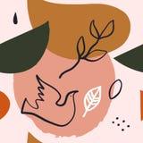 Искусство стены абстрактной середины века форм современное, элементы дизайна скандинавской руки стиля заплатки вычерченные Безшов иллюстрация штока