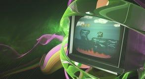 Искусство ТВ творческого зеленого цвета цифровое иллюстрация штока
