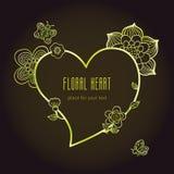 Искусство тонкой линии цветет и рамка в форме сердца Стоковое фото RF