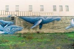 Искусство улицы горбатого кита в Аляске Стоковые Изображения RF