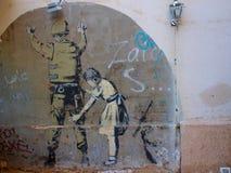 Искусство улицы на стене западного берега в Вифлееме стоковое фото
