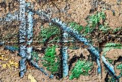 Искусство улицы - старое граффити на стене Стоковые Фотографии RF