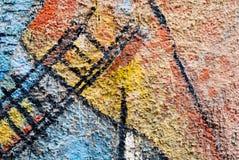 Искусство улицы - старое граффити на стене Стоковое Изображение