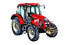 Искусство цвета иллюстрации аграрного трактора иллюстрация вектора