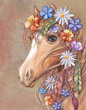 Искусство цифров Hippie лошади Стоковая Фотография RF