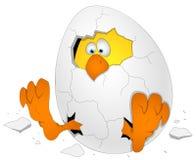 Пасхальное яйцо с цыпленком - персонажем из мультфильма - иллюстрация вектора Стоковое Фото