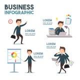 Искусство шаржа дела-infographics Стоковая Фотография