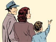 Искусство шипучки стиля папы и сына мамы семьи ретро иллюстрация штока
