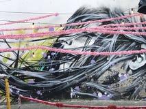 Искусство Alfama улицы стоковое изображение