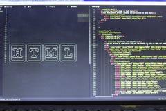 Искусство ASCII имени технологии HTML и реальное HTML кодируют в сторону Стоковая Фотография