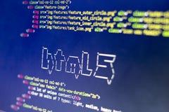Искусство ASCII имени технологии HTML и реальное HTML кодируют в сторону Стоковое фото RF