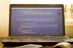 Искусство ASCII фразы развития сети внутри реального кода HTML Стоковая Фотография RF