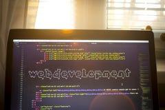 Искусство ASCII фразы развития сети внутри реального кода HTML Стоковое фото RF