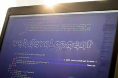 Искусство ASCII фразы развития сети внутри реального кода HTML Стоковые Фото