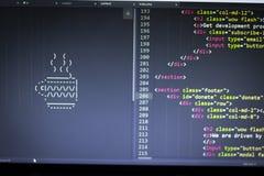 Искусство ASCII чашки питья и HTML кодируют в сторону Стоковая Фотография RF