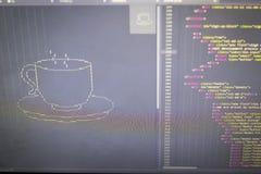 Искусство ASCII чашки питья и HTML кодируют в сторону Стоковые Изображения