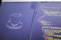 Искусство ASCII чашки питья и HTML кодируют в сторону Стоковое Изображение RF