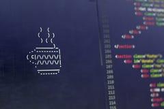 Искусство ASCII чашки питья Чашка кофе или чая в напечатанных символах Стоковая Фотография RF