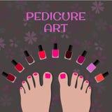 Искусство Pedicure Пальцы ноги изображения и красочный маникюр Стоковая Фотография RF