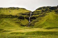 Исландский ландшафт, бесконечные космосы растительности, горы и w Стоковое фото RF