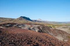 Исландский ландшафт сельской местности в Borgarfjordur Стоковая Фотография RF